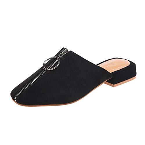 Zegeey Damen Sandalen Sommer Mit Absatz Closed Toe Geschlossene Sandalen Mit ReißVerschluss Slingback Mode Flache Schuhe (B-Schwarz,44 EU)