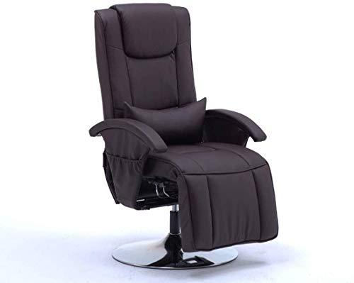 Noble Chair Swivel-Recliner-Stuhl-PU-Leder-Executive-Bürostuhl mit gut gepolsterter Fußstütze und lumbal-Kissen einstellbare Höhe (Color : Black)