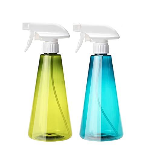 Wenosda 2 Pack Botella de Spray 500ml Disparador Pulverizador de Nebulización Fina Botellas de Spray Vacías Recargables (ON/Off) con Boquilla Ajustable para Limpieza Jardinería Riego (Azul + Verde)