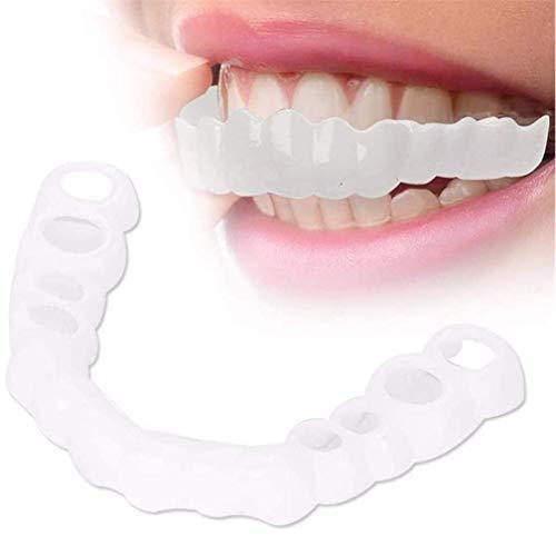 MTYQE 2 Pair Denti Cosmetici Denti di Sorriso Istantanei Protesi Dentale per Un Sorriso Sbiancante Copertura per Denti Finti (Inferiore + Superiore)