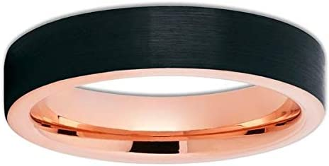 Silly Kings 5mm Rose Gold Tungsten Wedding Band,Rose Gold Tungsten Ring,Black Tungsten Wedding Band,Men & Women,Comfort Fit