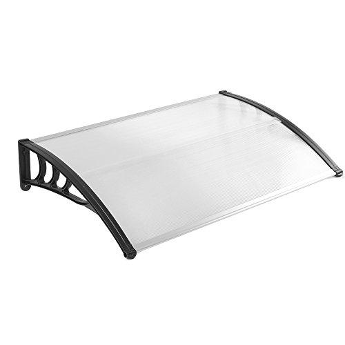 MCTECH 150 x 90 cm Vordach Pultvordach, Schwarz Polypropylen Seitenstreben und Transparent 5mm dicke...
