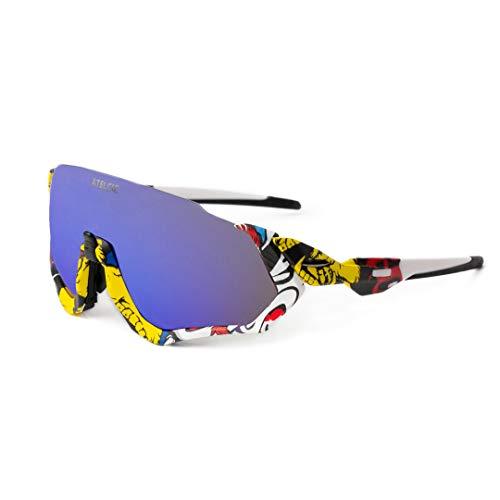 Atelcic Gafas de Sol para Ciclismo, Protección UV400 y Montura De TR-90 Resistentes a Golpes Antivaho para Hombre Mujer MTB Bicicleta Correr Montaña y Carretera (Multicolor (Lente Azul))