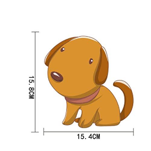 Cbhsjinsuxha 4 Piezas Pegatinas de Coche 15.4 cm * 15.8 cm Pegatinas de Coche Cachorro de Dibujos Animados PVC Impermeable Etiqueta engomada del Coche