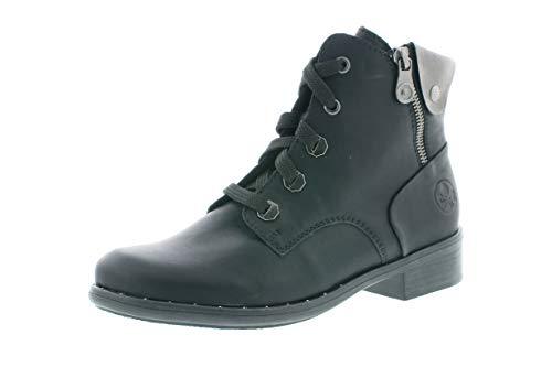 Rieker Damen Stiefeletten, Frauen Schnürstiefelette, leger Boot halb-Stiefel schnür-Bootie übergangsschuh,schwarz,38 EU / 5 UK