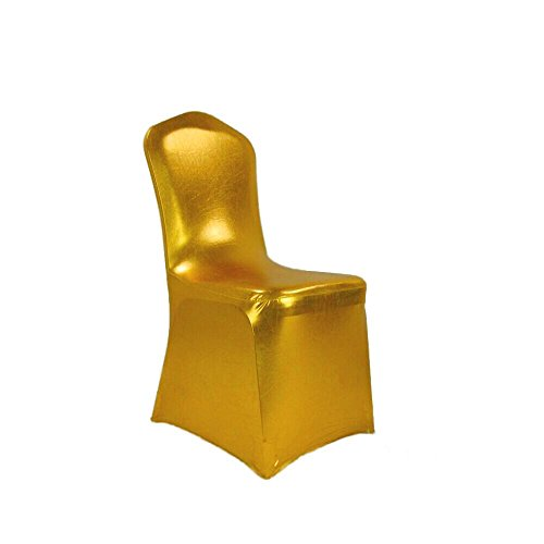 Uniquemystyle Stretch Dining Chair Cover for Wedding Banquet Party Dining Room (Shiny Gold)
