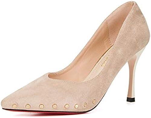 Jqdyl Nouveau Pointu Chaussures Simples Femmes Rivets Talons Aiguilles Chaussures Femmes Chaussures de Mode