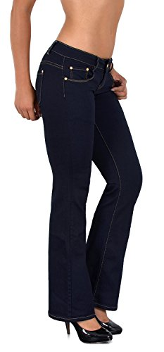 ESRA Damen Jeans Jeanshose Bootcut Hose Hüftjeans Damen Schlaghose bis Übergröße B500