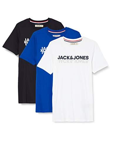 JACK & JONES Herren JACJONES Lounge Tee 3 Pack T-Shirt, White, L