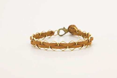 LoilJ Hexagon Essential Oil Diffusing Bracelet - Hexagon 7in Cedar Brown