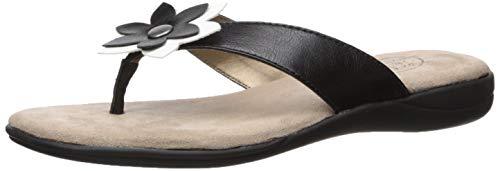 LifeStride Women's Eloise Flat Sandal, Black/White, 7 M US