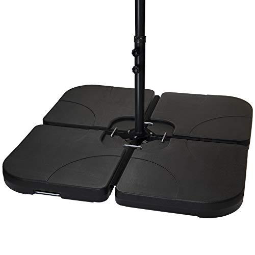 BB Sport Sonnenschirmständer 4-teilig Schirmgewicht für Ampelschirm Bodenkreuz schwarz 60 Liter / 80 kg - befüllbar mit Wasser oder Sand