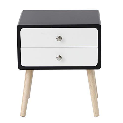 JEOBEST Table de Chevet Moderne avec 2 Tiroirs,Pieds en Bois de Pin, Espace de Rangement pour Chambre/Salon/Bureau (Noir et Blanc, 42x32x50 cm)