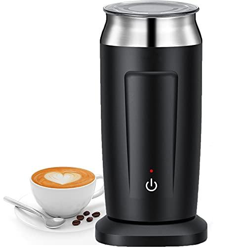 Montalatte Elettrico, 500W Macchina Automatica per Schiuma di Latte, Vaporiera per Latte Caldo o Freddo, Cappuccinatore con Funzione di Riscaldamento e Agitazione per Latte, Caffè, Cappuccino