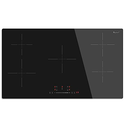 Induction Hob 5 Zone, Built-in Electric Cooktop 9300W 90CM 5 Ring Hob with Touch Controls, Crystal...