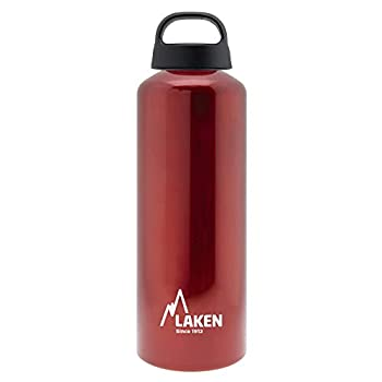 Laken Classic Aluminum Water Bottle Wide Mouth with Screw Cap and Loop BPA Free Made in Spain 25oz Red