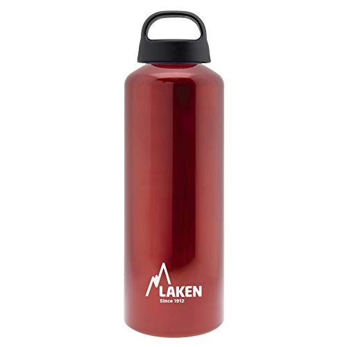 Laken Classic Botella de Agua Cantimplora de Aluminio con Tapón de Rosca y Boca Ancha, 1L Rojo
