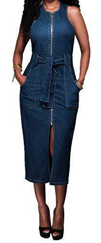 HX fashion Dames Spijkerjurk Mouwloos Elegant Ronde Comfortabele Maten Hals Denim Lange Rok Knielengte Casual Slanke Avondjurk Mini-Jurk Zomerjurk Blouse-Jurk Blauw