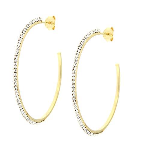 Pendientes de aro para mujer de oro y alma de plata. 50mm oro giallo