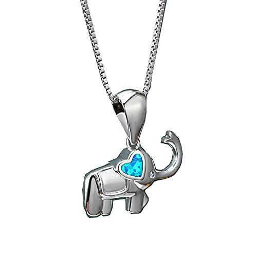 SWAOOS Collar con Colgante de Elefante de ópalo Azul Blanco con corazón Bonito para Mujer, Collares con dijes para Mujer, Collar de Boda Nupcial, 45Cm