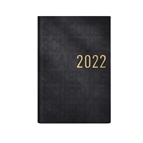 WGH 2022 Planner-Weekly Monthly Planner with Leather Cover,5.7″x8.4″,Jan.2022-Dec.2022,Monthly Tabs as To-do List,Perfect for Home,Office Using (Color : Black)