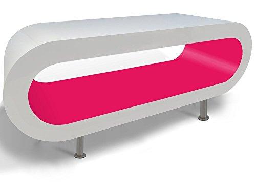 Zespoke Design Retro Bianco e Rosa caffè Cerchio Supporto da Tavolo/TV in Vari Formati