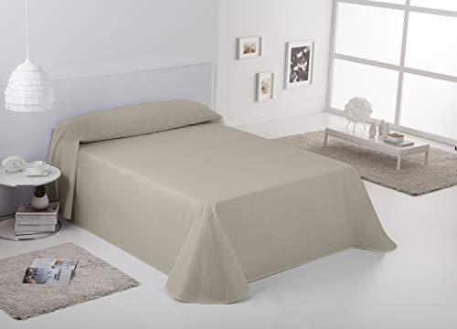 EsTelia - Colcha/Cubrecama RÚSTICO Lisos Color Lino - Cama de 150 cm. - Hilo Tintado - 50% Algodón/30% Poliéster/20% Lino