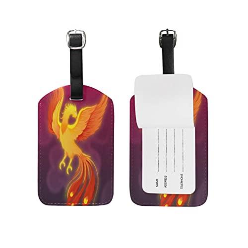 Etiquetas para equipaje Dibujado A Mano Fuego Phoenix Equipaje Etiquetas de Maleta Nombre Etiqueta de Dirección ID de Cuero para Viajes(2piezas)