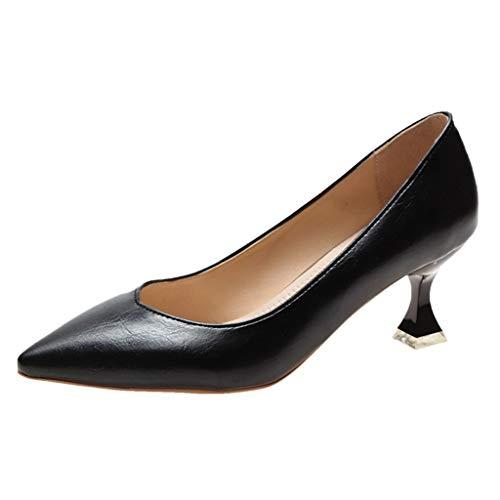 Ln-ZME Damen Pumps Modische Einfarbige Leder Slip On Einfarbige Spitze Zehen Schuhe Stiletto Frauen Professionelles Büro Arbeit Geschäft High Heels Schuhe