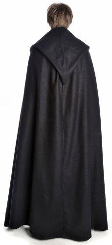 HEMAD Mittelalter Umhang mit Kapuze Wollfilz schwarz, braun, beige, rot, blau (One Size, schwarz) - 3