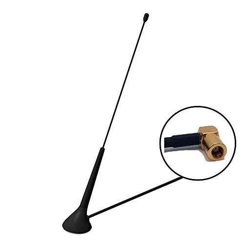 Albrecht MAG28 DAB+ magneetantenne voor auto, caravan, vrachtwagen, woonkamer, garage, antenne voor digitale radio-ontvangst (magneetvoet bijv. voor dakmontage), lengte 28 cm, SMB stekker, zwart