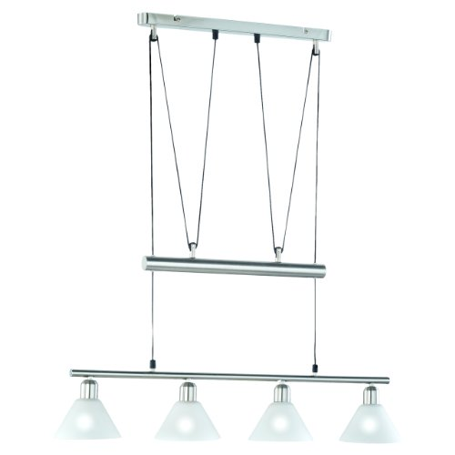 Trio-Leuchten 3751041-07 Jojo-Balkenpendel, 4xE14,max.40W, Nickel matt, Glas opal matt weiß [Energieklasse]