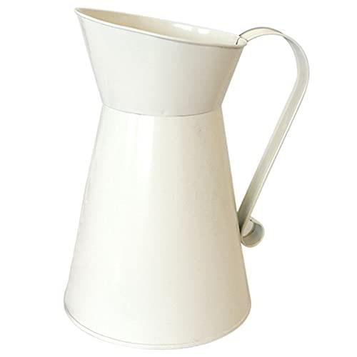 Midream Jarrón de metal vintage para flores, jarrón de esmalte de color crema, para boda, decoración del hogar, color blanco
