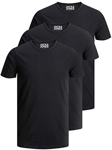 JACK & JONES 3er Pack Herren T-Shirt Basic mit Rundhals einfarbig Slim Fit in weiß schwarz blau grau (XL, 3er Pack schwarz)