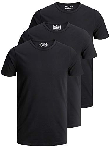 Jack and Jones Herren T-Shirt Basic Rundhals 3er Pack einfarbig Slim Fit in weiß schwarz blau grau (XL, 3er Pack O schwarz)