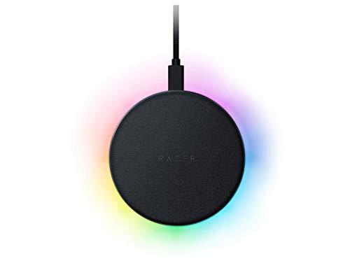 Razer Charging Pad Chroma – Kabelloses Schnellladegerät (10 W, Wireless Ladestation mit RGB-Beleuchtung, Qi-Unterstützung, gummierte Soft-Touch-Oberfläche)