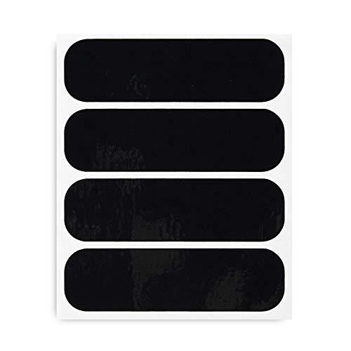 4R Quattroerre.it 16081 Kit 4 Adhesivos Reflectantes para Casco Moto, Negro, 8,5 x 2,3 cm