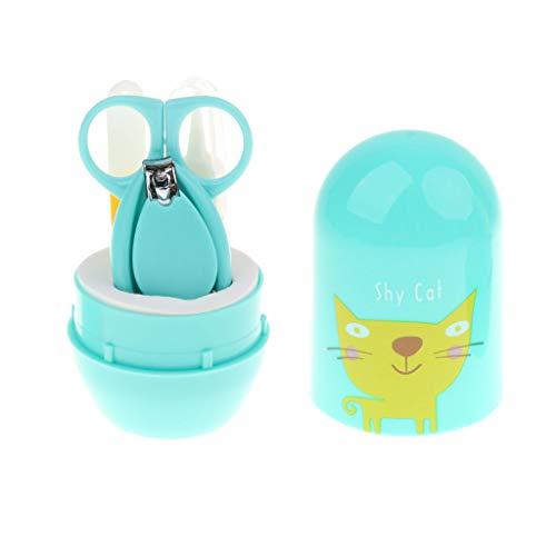 Nagelknipser, Schere, Feile & Pinzette | Baby Nagelpflege Set für Neugeborene, Kleinkinder & Kleinkinder - Grüne Katze