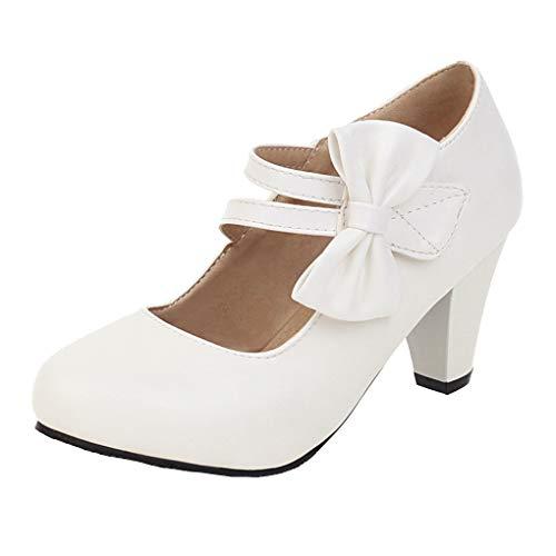 Femany Damen Mary Jane Pumps Blockabsatz mit Riemchen Rockabilly Schuhe (Weiß, 39)