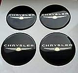 MISSLYY 4 Piezas Coche Tapas Centrales de Llantas para Chrysler,con el Logotipo De Insignia Rueda Tapas De Centro Prueba De Polvo Accesorios De Decorativo De Automóvil,60mm