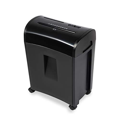 Zoomyo Aktenvernichter mit Auffangbehälter (Papier-Shredder bis zu 8 Blatt DIN A4, Papiervernichter, Schredder für CDs, Aktenvernichter für, Preis-/Leistungssieger, 300W) ZS-10E,schwarz