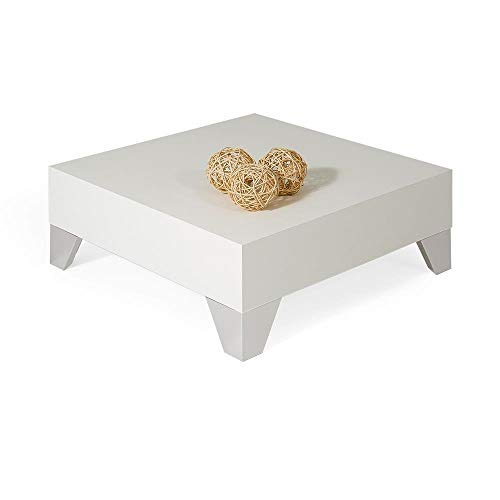 Mobili Fiver, Table Basse de Salon Evo 60, Bois, frêne Blanc, 60 x 60 x 60 x 24 cm, Made in Italy