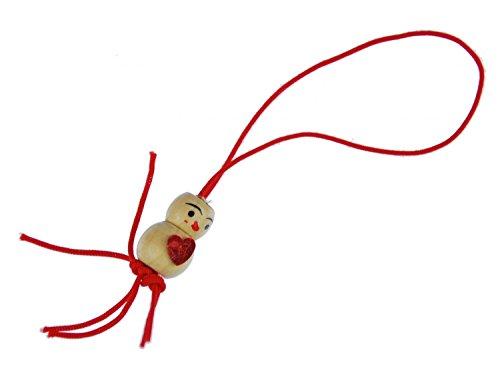 Miniblings Holzfigur Handyanhänger Anhänger Männchen rot Glücksbringer 80er Liebe Herz- Handmade Modeschmuck I Anhänger Handyschmuck Schlüsselanhänger
