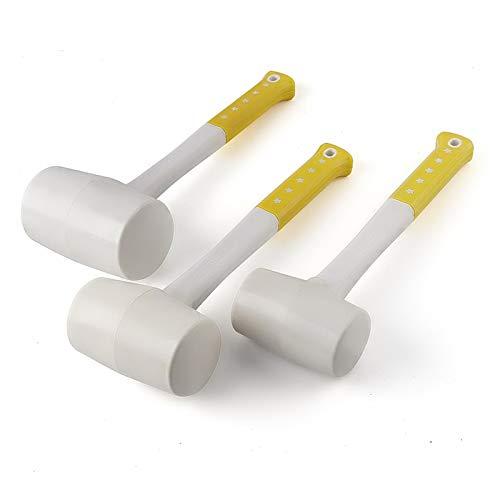 Martillo de goma blanca de alta resistencia, martillos de instalación de pegamento de plástico para baldosas de cerámica, 55mm, 60mm, 70mm de diámetro con mango antideslizante