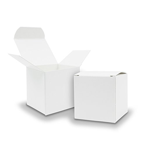 Itenga 50x scatole regalo in cartone da riempire (calendario dell'avvento, bomboniera per matrimonio, battesimo, nascita), bianco, Würfel 6,5x6,5cm