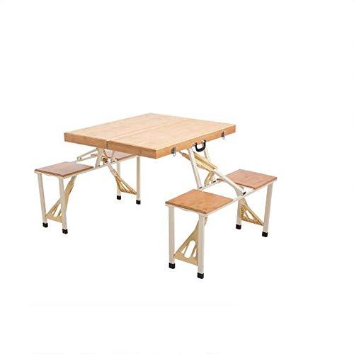 Table HAIZHEN Station de Travail d'ordinateur d'extérieur en Alliage d'aluminium Bambou Épaississant Pliable, Chaise Portable Pique-Nique Mobile Publicité