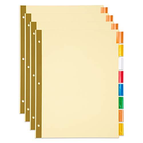 Amazon Basics Paper Binder Dividers, Insertable 8-Tab, 4/Pack