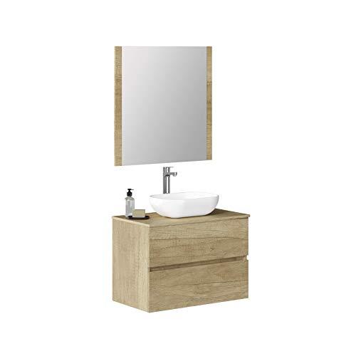 Baikal Conjunto de Mueble de Baño suspendido a la Pared, con Lavabo Sobrepuesto y Espejo con Marco de Madera, Dos cajones, Medidas, Melamina 16, Nature, 70 X 55 X 46 cm