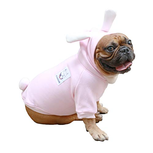 iChoue Bunny Dog Halloween Easter Costumes Small Medium Clothes Boy Girl Shirt Sweater Cute Funny for French Bulldog Cold Weather Winter Coats Hoodies Frenchie English Pug Pitbull Corgi Puppy - L