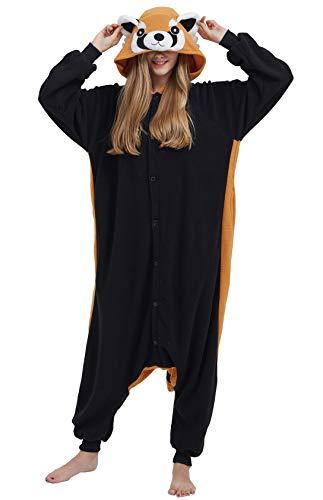 Pijama Animal Entero Rojo Panda Unisex para Adultos con Capucha Cosplay Pyjamas Ropa de Dormir Traje de Disfraz para Festival de Carnaval Halloween Navidad